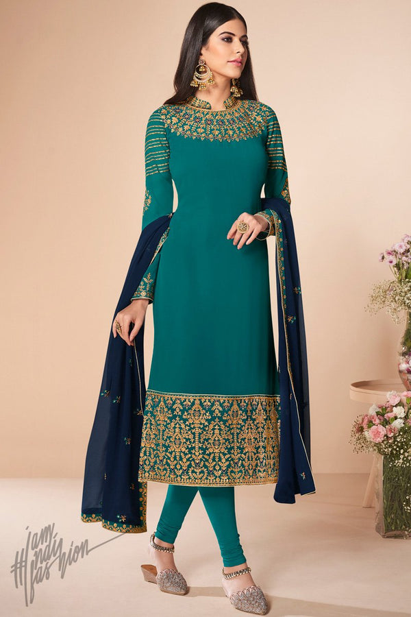 Ocean and Midnight Blue Georgette Straight Suit