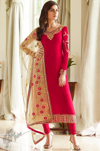 Red and Beige Georgette Straight Suit