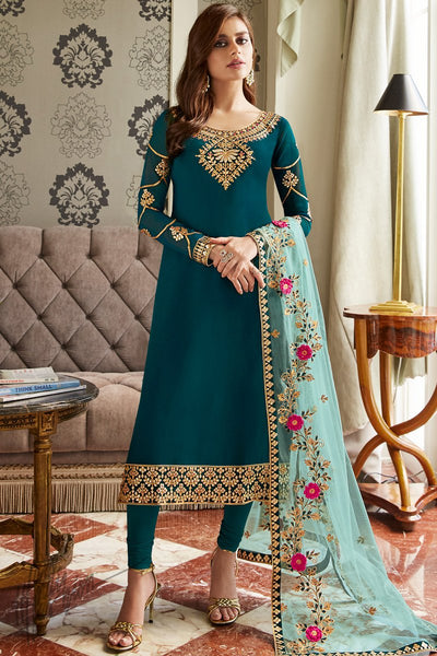 Morpich and Ice Blue Georgette Straight Suit