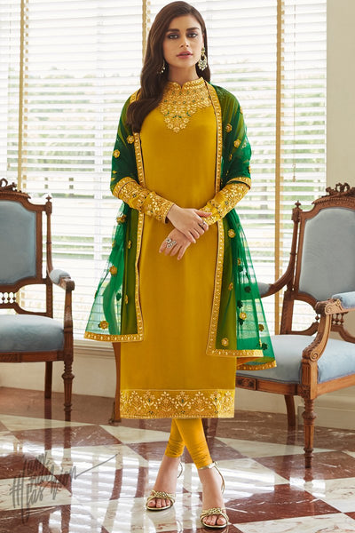 Mustard and Forest Green Georgette Straight Suit