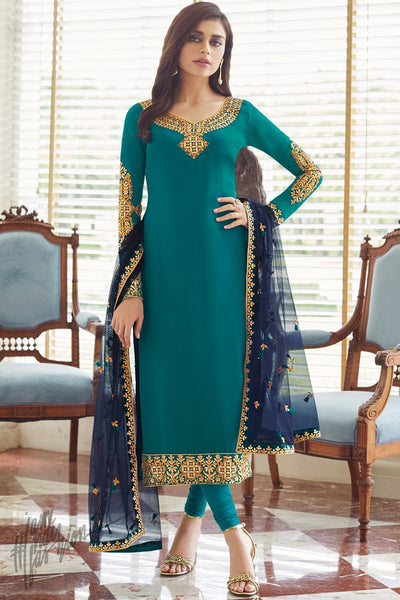 Teal and Ink Blue Georgette Straight Suit