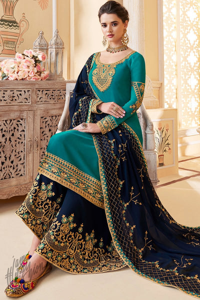 Teal and Navy Blue Pure Georgette Palazzo Suit