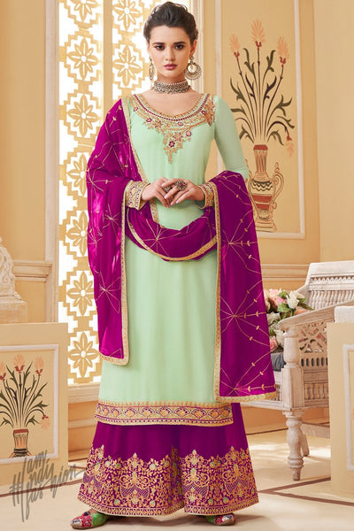 Mint Green and Dark Purple Pure Georgette Palazzo Suit