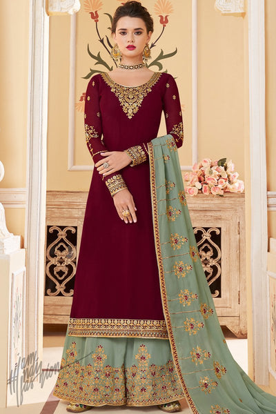 Maroon and Sage Green Pure Georgette Palazzo Suit