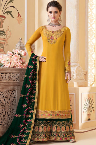 Honey Yellow and Forest Green Pure Georgette Palazzo Suit