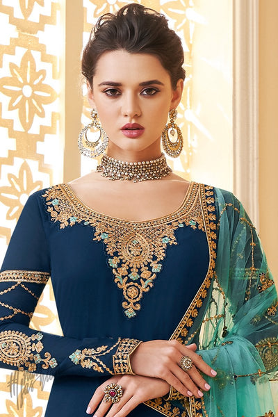 Royal and Sky Blue Pure Georgette Palazzo Suit