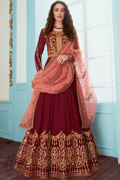 Current Red and Rose Pink Georgette Anarkali Suit