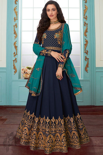 Denim and Ocean Blue Georgette Anarkali Suit