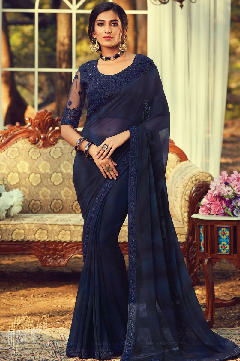 Midnight Blue Georgette Saree