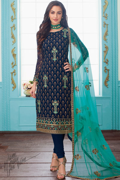 Navy and Sky Blue Georgette Straight Suit