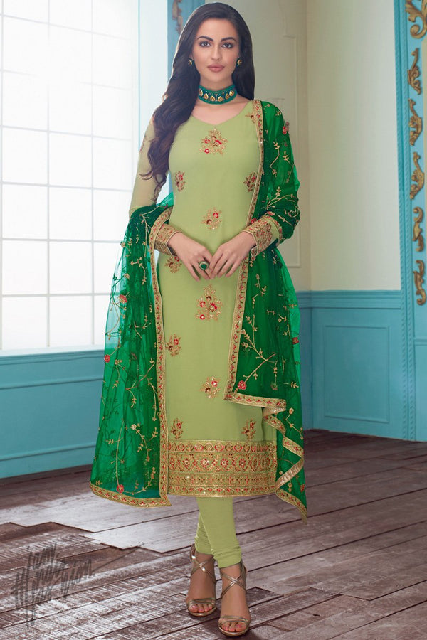 Light Olive and Forest Green Georgette Straight Suit