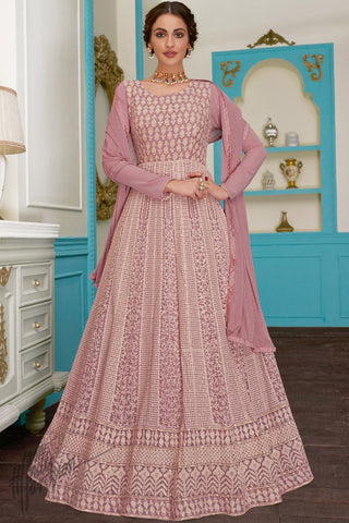 Mauve Pure Georgette Anarkali Suit