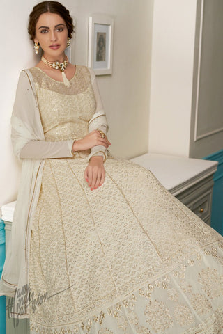 Milk Cream Pure Georgette Anarkali Suit