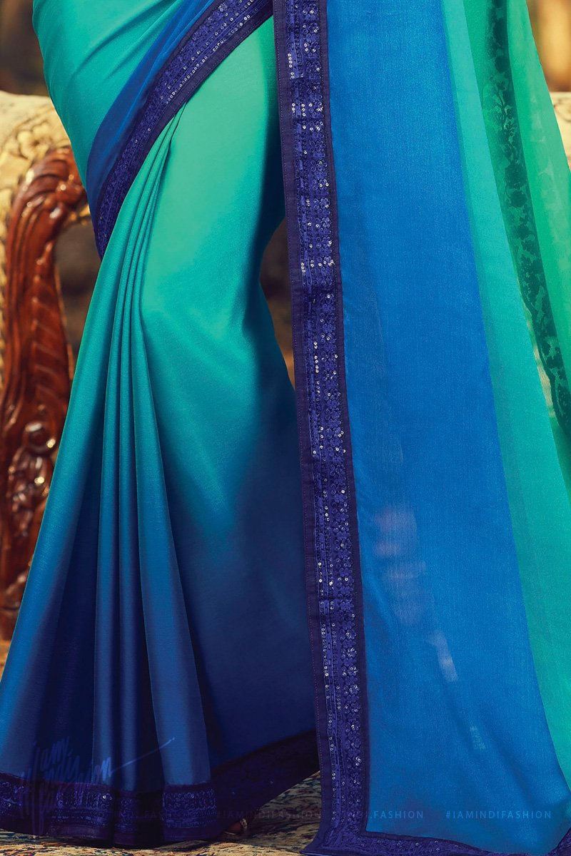 Teal and Blue Ombre Silk Saree