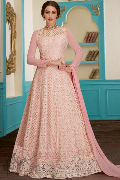 Baby Pink Pure Georgette Anarkali Suit