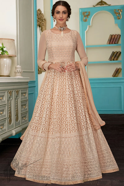 Light Peach Pure Georgette Anarkali Suit
