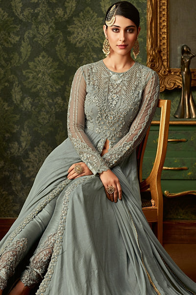 Slate Blue Georgette and Net Party Wear Floor Length Suit