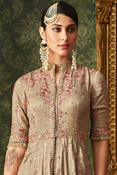 Tan Brown Banarasi Silk Party Wear Anarkali Suit