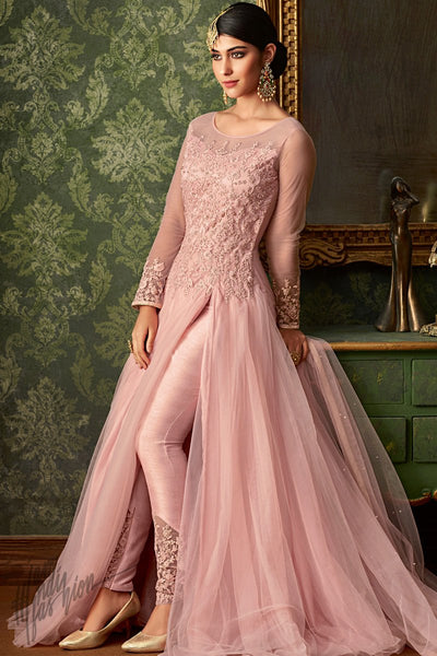 Light Pink Net Party Wear Gown Style Suit