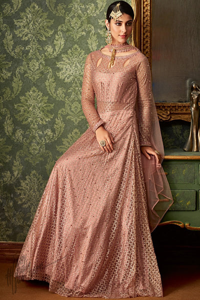 Rose Gold Silk and Net Party Wear Lehenga Style Suit with Tube Top