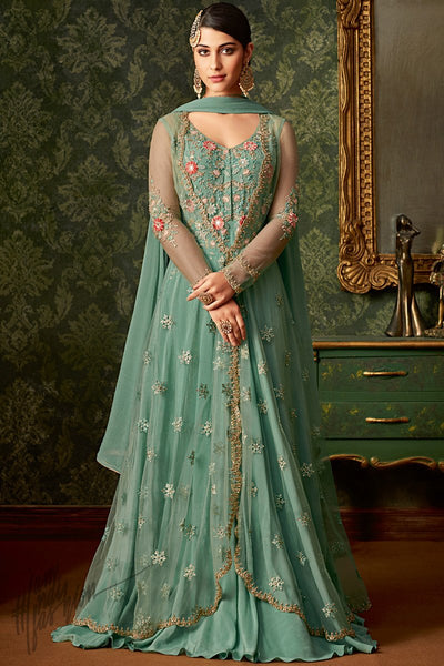 Teal Blue Georgette and Net Party Wear Jacket Style Suit