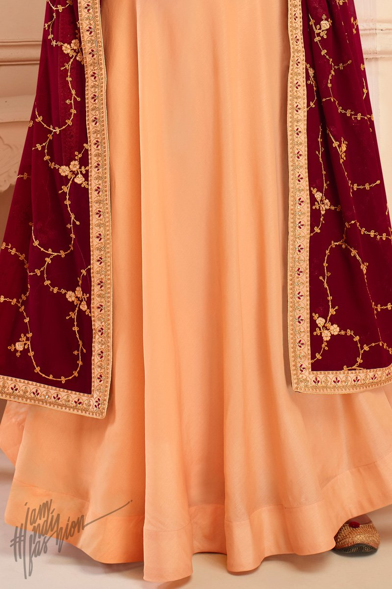 Peach and Maroon Tussar Silk Anarkali Suit