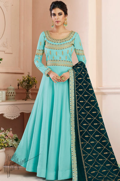 Sky and Peacock Blue Tussar Silk Anarkali Suit