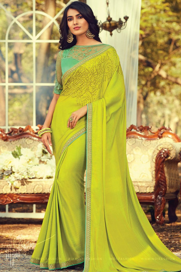 Liril Green and Turquoise Silk Saree