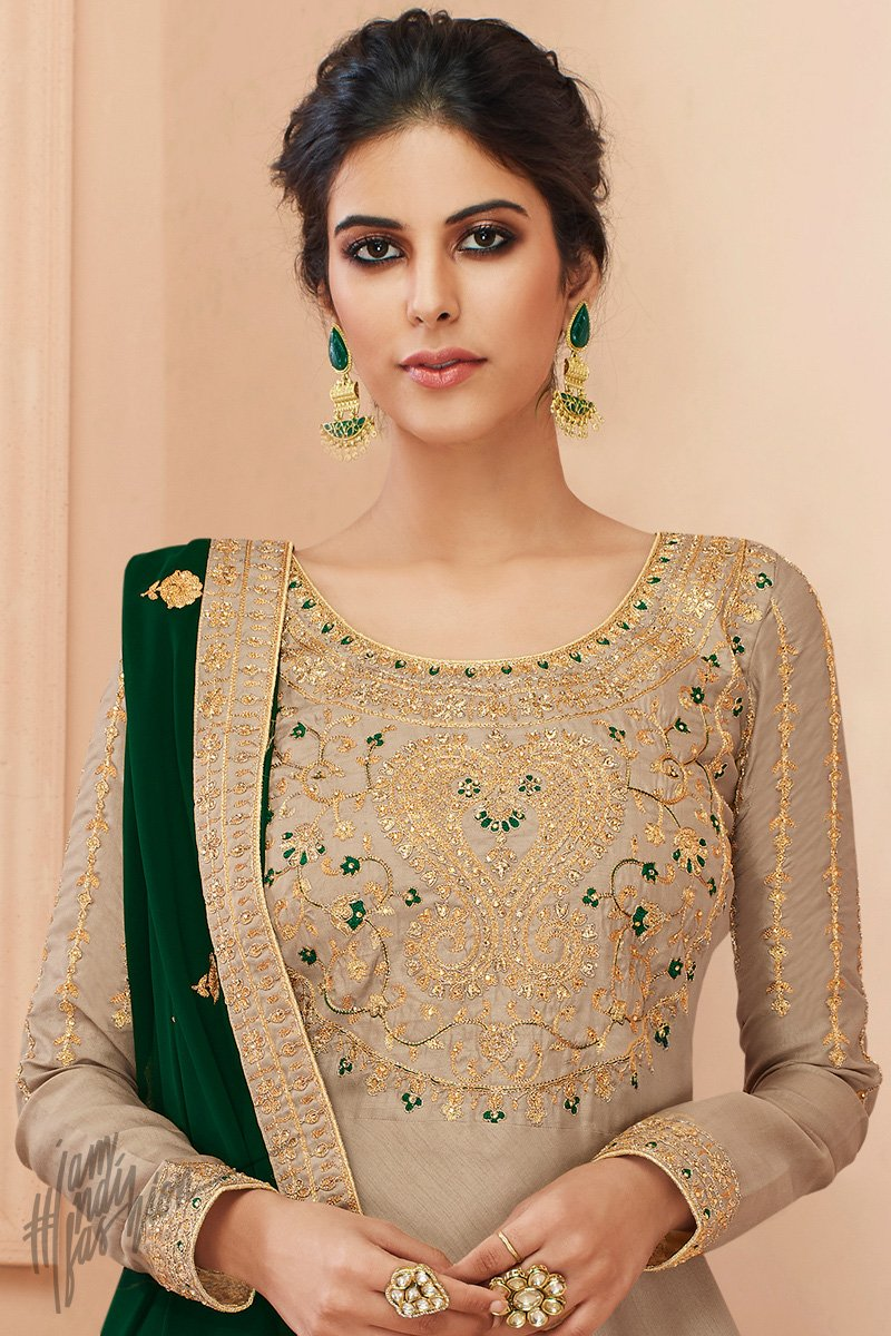 Tusser and Bottle Green Tussar Silk Anarkali Suit
