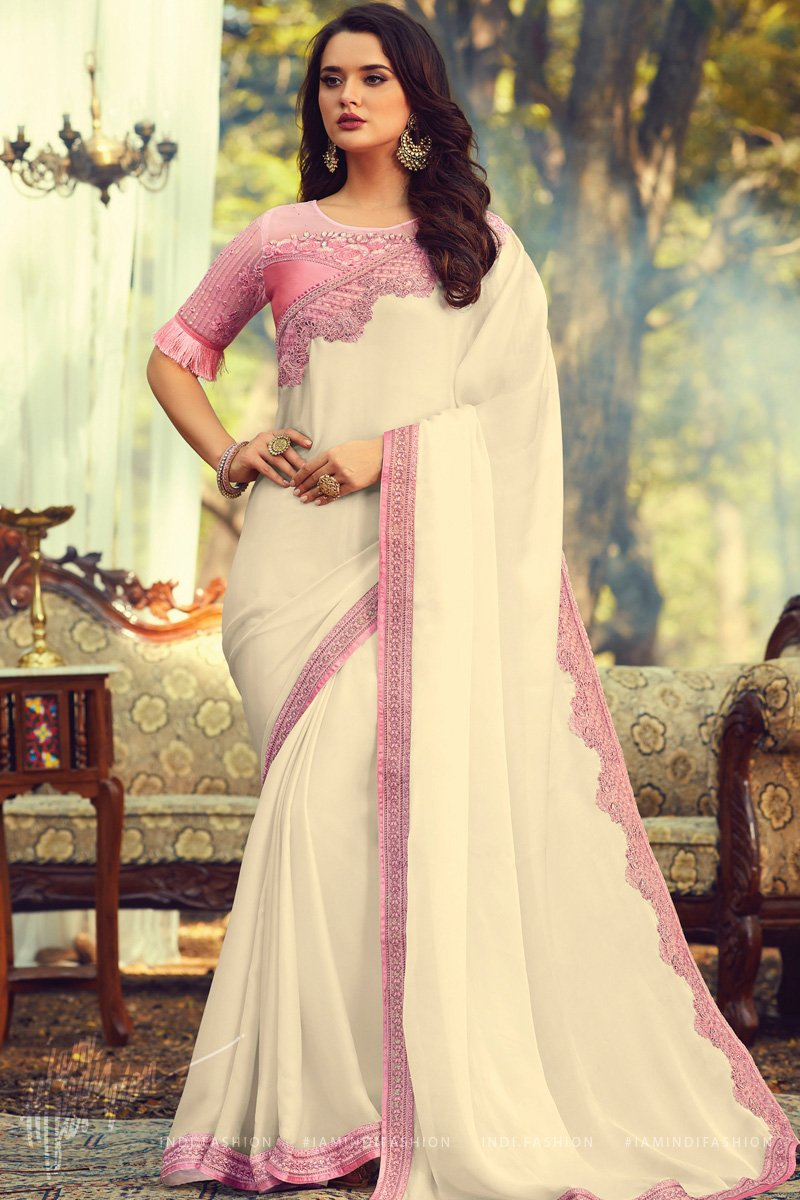 Off White and Baby Pink Silk Saree