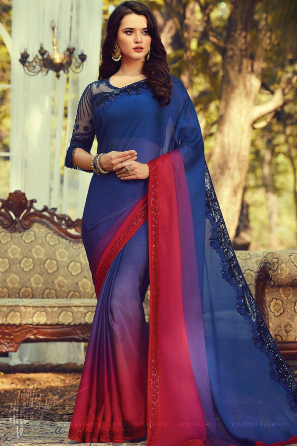Blue and Red Ombre Silk Saree