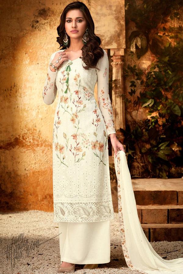 Ivory White Viscose Georgette Palazzo Suit