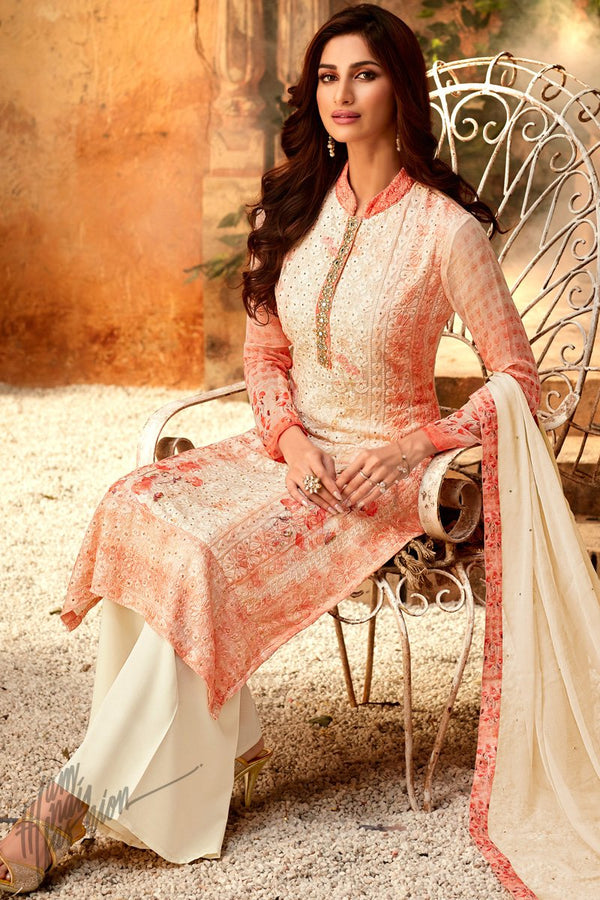Peach Viscose Georgette Palazzo Suit