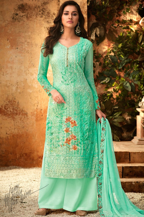 Mint Green Viscose Georgette Palazzo Suit
