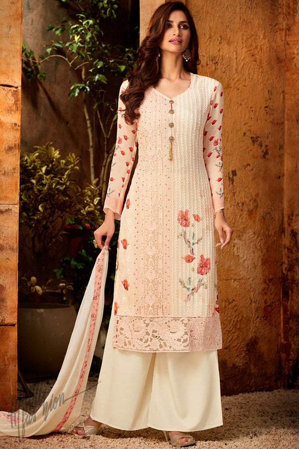 Baby Pink Viscose Georgette Palazzo Suit