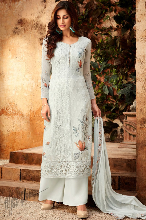 Pearl Silver Viscose Georgette Palazzo Suit
