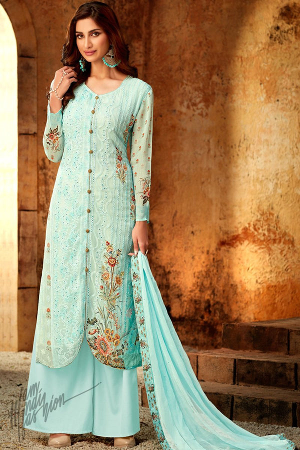 Baby Blue Viscose Georgette Palazzo Suit