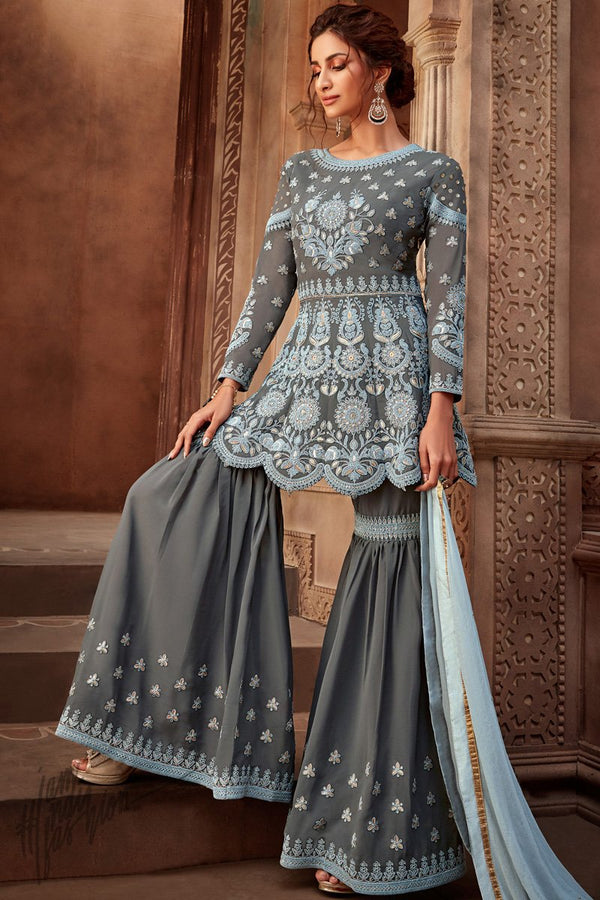 Gray Viscose Georgette Sharara Suit