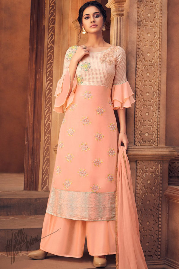 Light Peach Viscose Georgette Palazzo Suit