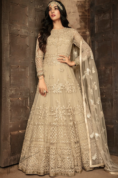 Linen White Net Party Wear Anarkali Suit