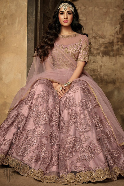 Crepe Pink Net Party Wear Anarkali Suit