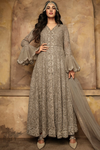 Antique Silver Net Party Wear Anarkali Suit