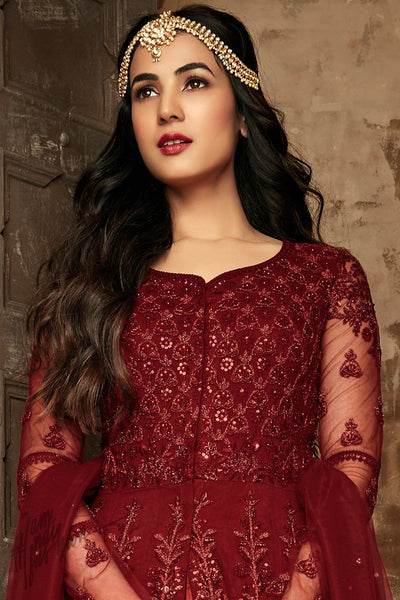 Garnet Red Net Party Wear Anarkali Suit