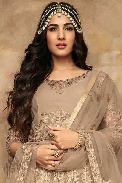Wheat Brown Net Party Wear Anarkali Suit