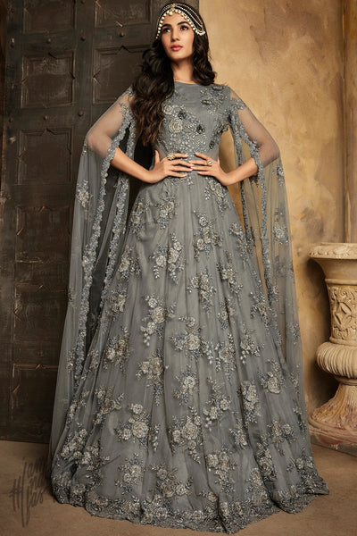 Gray Net Party Wear Anarkali Suit