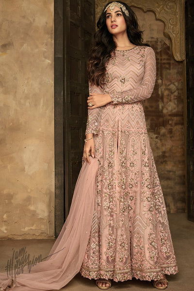 Peach Net Party Wear Anarkali Suit