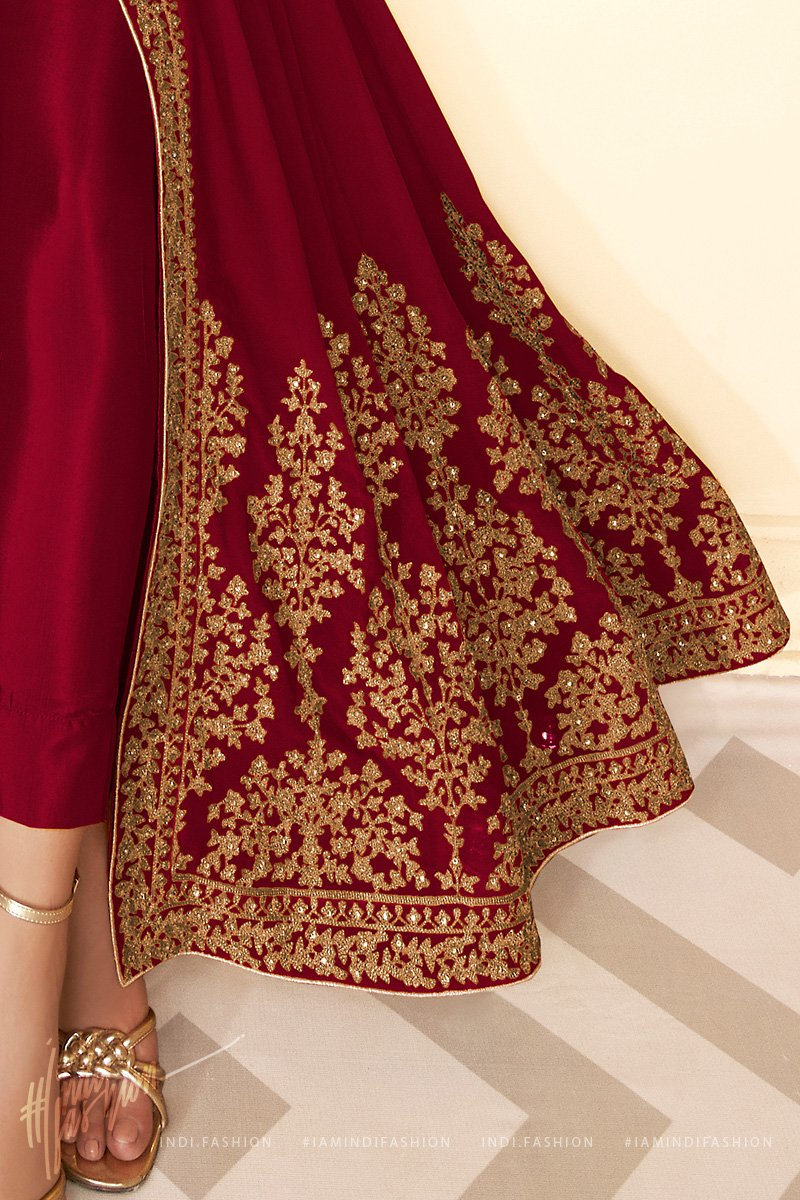 Maroon Pure Georgette Anarkali Suit