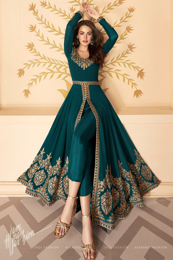 Peacock Green Pure Georgette Anarkali Suit