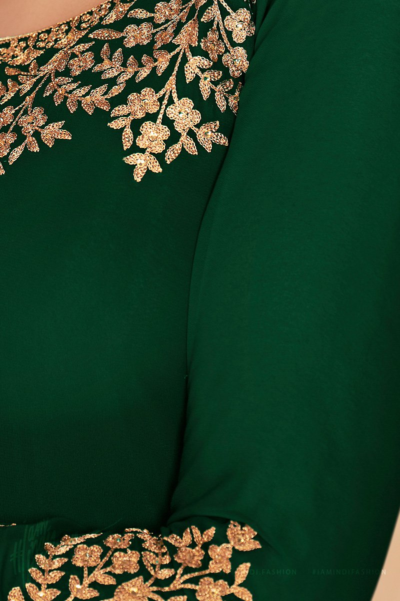 Forest Green Pure Georgette Anarkali Suit