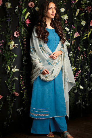 Royal Denim Blue Cotton Palazzo Suit